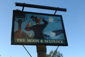 Moon And Sixpence Pub Sign in Clevedon